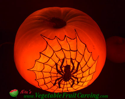 spider web pumpkin carving