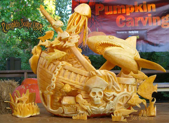 Sculpted pumpkin Shipwreck by Sue Beatrice
