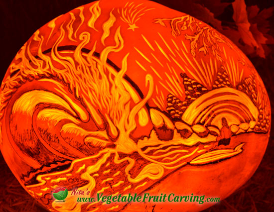 surfer pumpkin carving design
