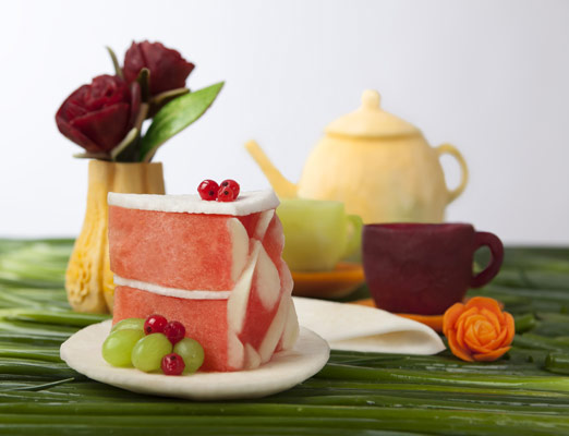 Tzipy Watermelon Cake and Fruit Tea Set Carving