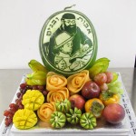 Carved watermelon display by Tzipy