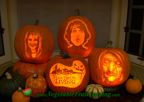 Pumpkins that Nita Gill carved for the San Diego Living TV Show