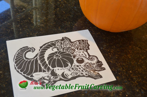 Thanksgiving pumpkin carving cornucopia design printed on transfer pattern paper