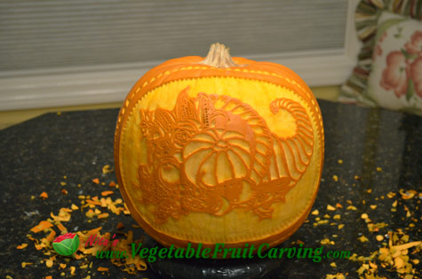 completed Thanksgiving cornucopia pumpkin carving
