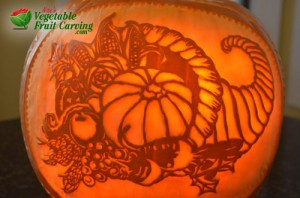 Cornucopia pumpkin carving for Thanksgiving
