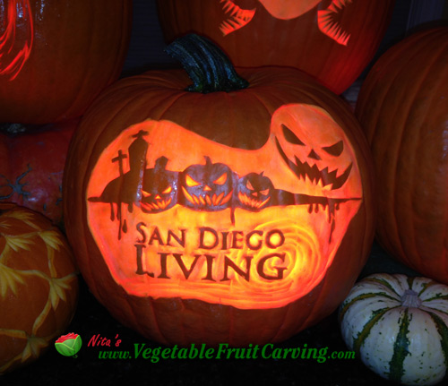 Pumpkin carved by Nita Gill with the San Diego Living TV show logo with a Halloween motif.