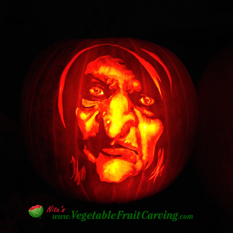 Scary witch pumpkin carved by Nita Gill for San Diego Living TV show