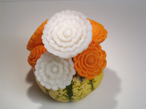 flower bouquet made of yams and turnips