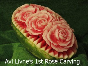 1st watermelon rose carving by Avi Livne