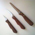 3 knife set of Kom Kom fruit carving knives with wooden handles