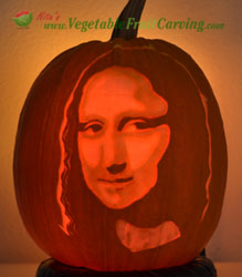 pumpkin carving of the Mona LIsa