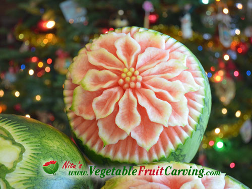 carved watermelon poinsettia