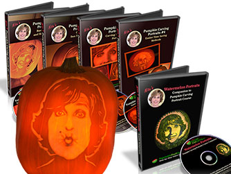 Pumpkin Portrait Course with Watermelon Portrait lessons and Pumpkin carved with image of Nita Gill