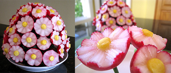 radish bouquet made with corrugated u-cutters