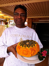 Ali Tahir Butt with his first kabocha quash carved with roses
