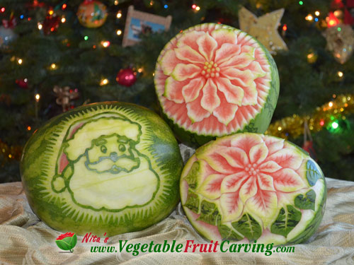 Christmas watermelon carvings