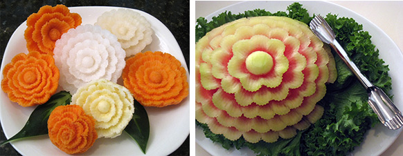watermelon, yam and turnip flowers made with corrugate u-cutters