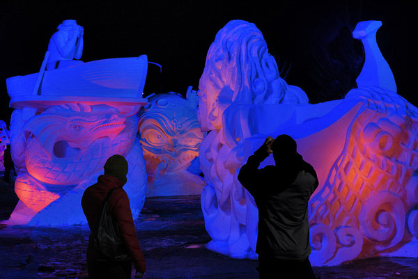 Snow Sculpture Viewing at Night