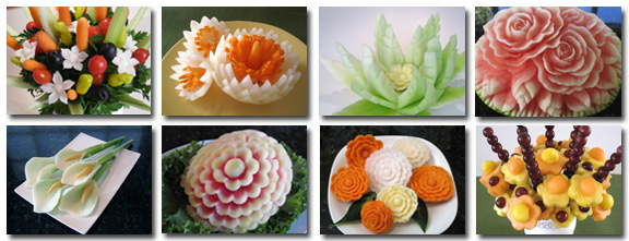 fruit and vegetable carvings from Nita's 101 Course for Beginners
