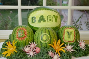 Watermelons carved with letters and words