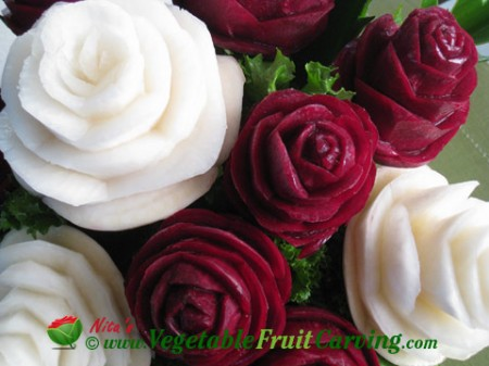 Bouquet of Roses carved from Beets and Turnips