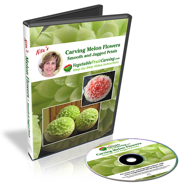 Expand your melon carving skills with Nita's Carving Melons, Smooth and Jagged Petals video lessons on DVD.