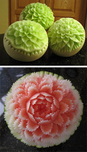 "Melon carving designs taught in ""Carving Melon Flowers - Smooth and Jagged Petals"" lessons"