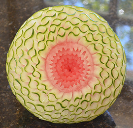 Scroll Pattern carving watermelon pattern taught in Nita's video lessons