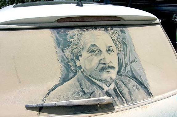 Albert Einstein Dirty Car Art
