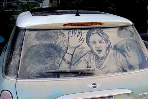 Kid in Car Dirty Car Art