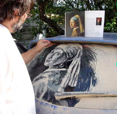 Scott's dirty car art of Girl with the Pearl Earring