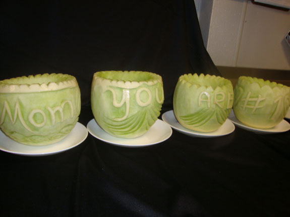 Mother's Day watermelon carvings by Abby