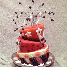 Fireworks themed 4th of July watermelon cake