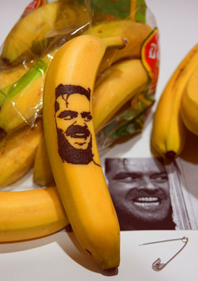 "Even Jack Nicholson, as seen in ""The Shining,"" graces the banana peel."