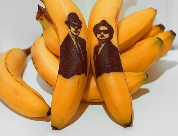 The Blues Brothers each get their own piece of banana art.