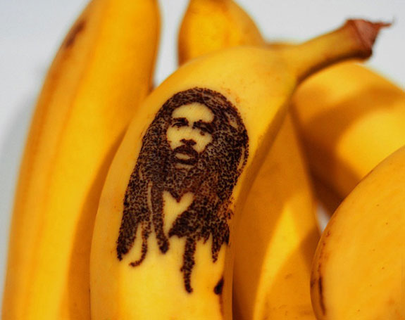 Bob Marley etched into a banana peel.