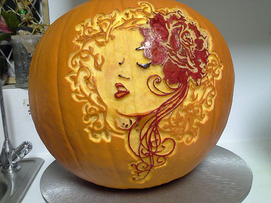 pretty-woman-carved-pumpkin
