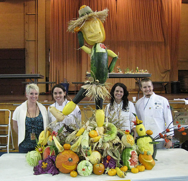 Oakland Community College Team that made the life size food sculptures