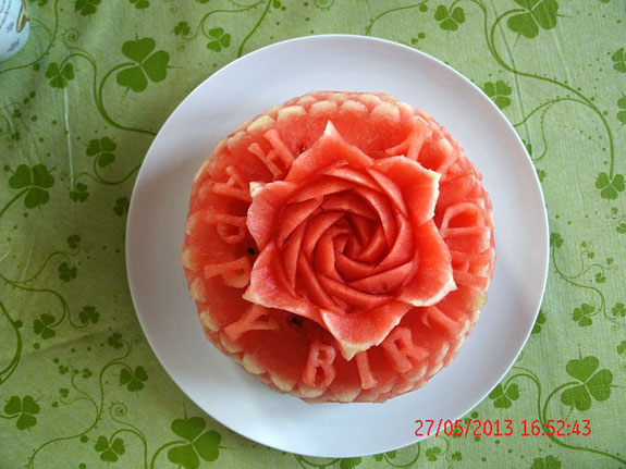 Top view of Rosita's Happy Birthday watermelon carving