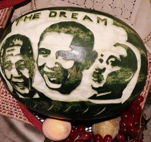 Carved portraits of  Mandela, Obama and Martin Luther King