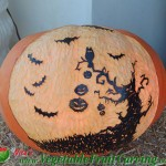 Halloween tree with bats pumpkin