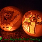 Spongebob and Calvin Hobbes pumpkin carvings