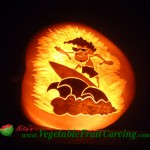 Surfer pumpkin carving