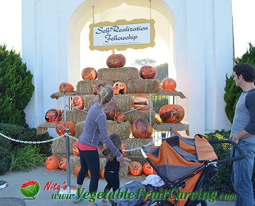 Pumpkins displayed at the SRF in Encinitas