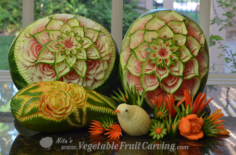 Nita Gill Thai Watermelon Carvings