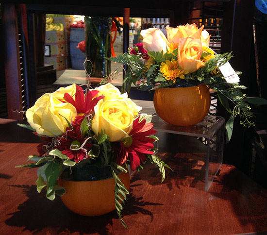 fall pumpkin flower arrangements