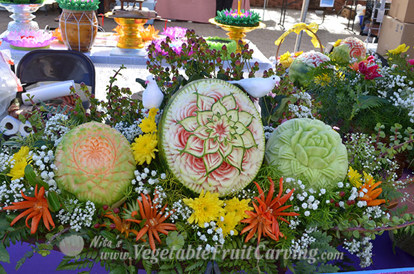 Thai style fruit carvings at Loy Krathong Festival