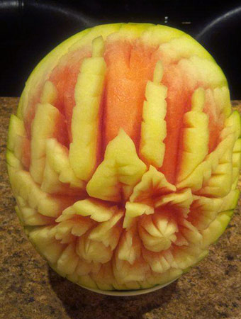 candles watermelon carving by Yiota Thoma