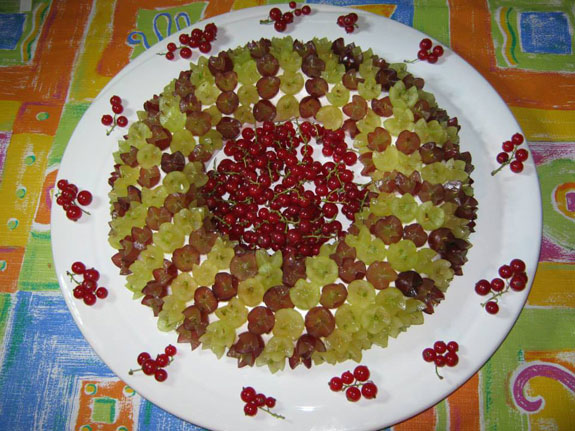One of Susan Bettridge's edible Christmas wreaths made of grapes