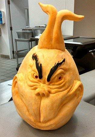 Grinch pumpkin carving by Jim Morgan